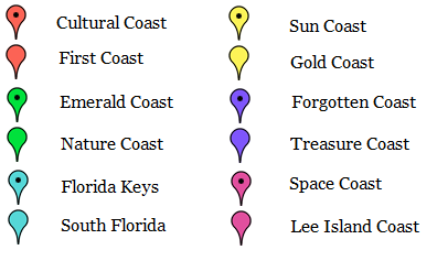 Map Of Florida Coast.Florida Beach Map Florida Nature Guide Coastal Section